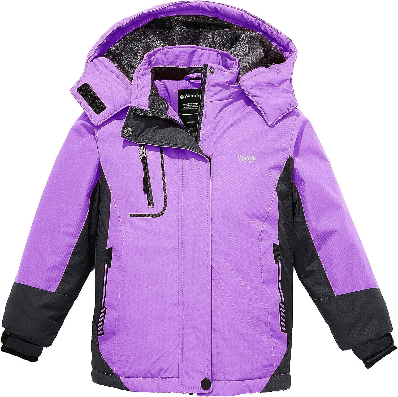 Wantdo Girl's Waterproof Ski Jacket Hooded Fleece Winter Snow Coat Windproof Raincoats Mountain Outwear
