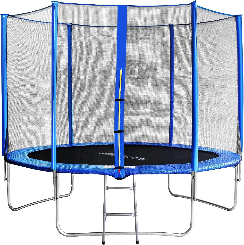 SixBros. SixJump 3,05 M Trampolín Cama elástica de jardín Azul - Escalera - Red de Seguridad - Lluvia Cobertura TB305/1693