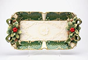 Cosmos Gifts 10302 Fine Ceramic Hand Painted Christmas Holidays Green Holly Ribbon Design Red Berry Rectangular Serving Platter Tray, 19 3/4 L