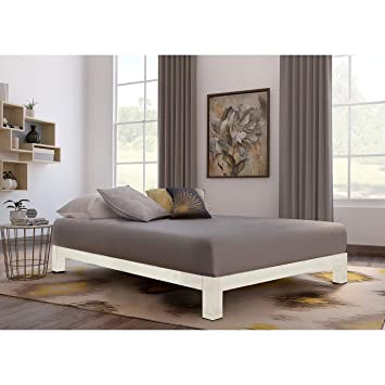 Amazoncom Motif Designs Aura White Platform Bed Queen Kitchen