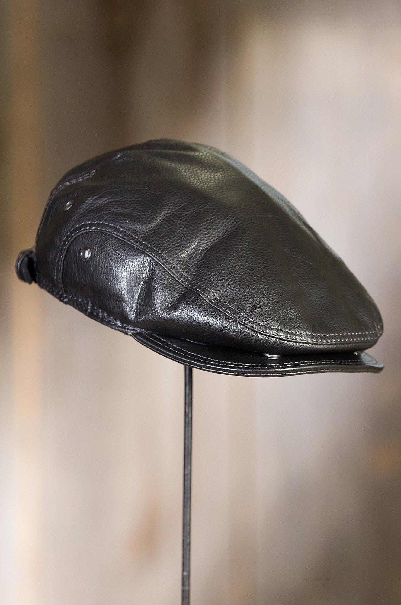 Overland Sheepskin Co. Allen Leather IVY Cap, Black, Size Large (7 1/4-7 3/8) by Overland Sheepskin Co (Image #7)
