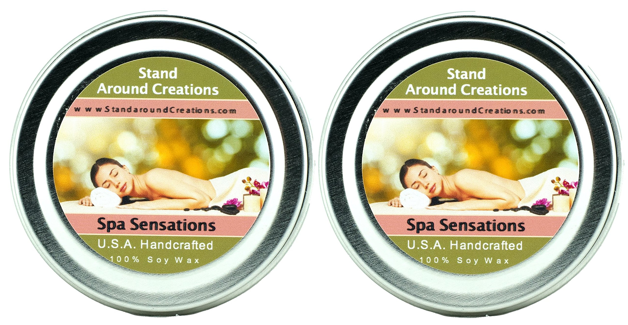 Premium 100% Soy Candles-Set of 2- 2 oz Tins- Spa: A calming and balanced fragrance w/ notes of lemongrass w/ hints of patchouli and sugar cane. Contains natural lemongrass, patchouli essential oils.
