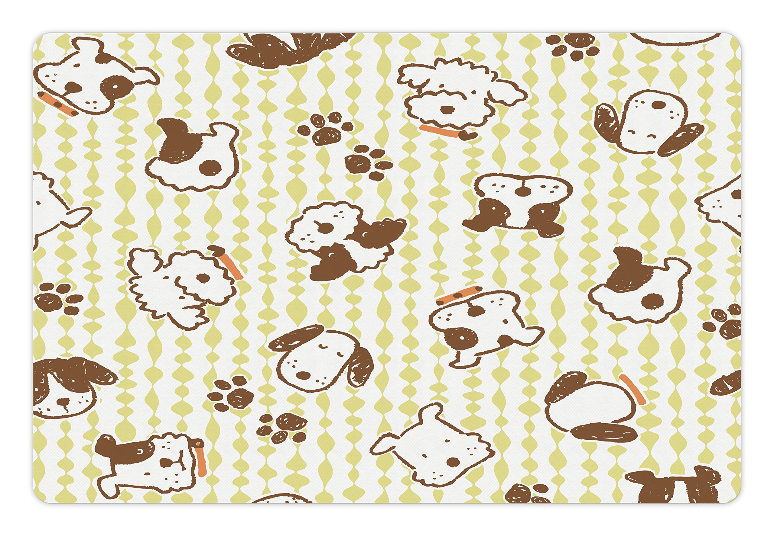 Lunarable Kids Pet Mat for Food and Water, Modern Pattern with Puppy Dogs and Paws Doodle Style Cute Design Pet Animal Print, Rectangle Non-Slip Rubber Mat for Dogs and Cats, White and Green