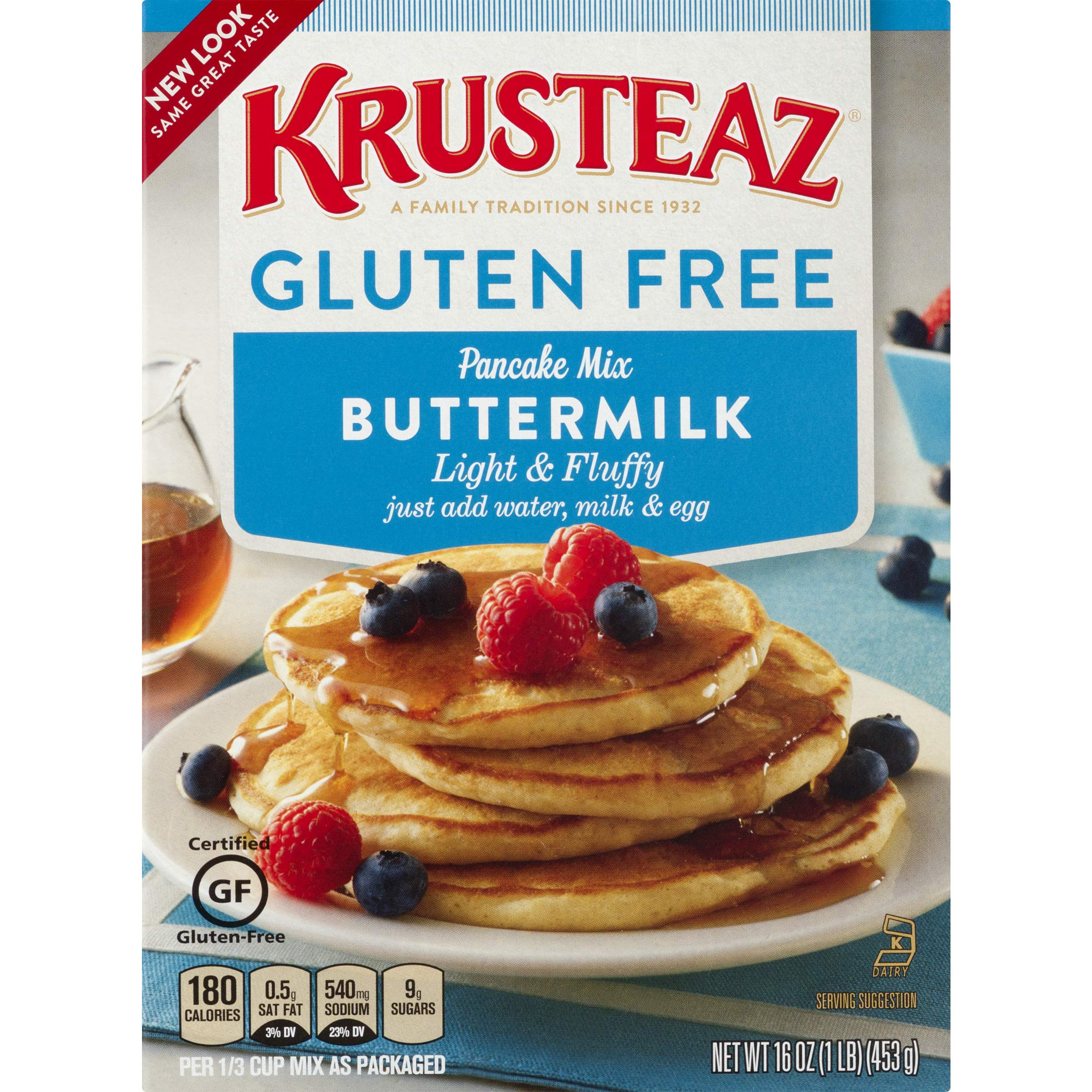Krusteaz Gluten Free Buttermilk Pancake Mix, 16-Ounce Boxes (Pack of 8) by Krusteaz