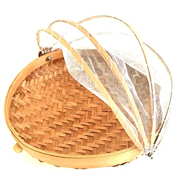 Oma Covered Round Bamboo Storage Basket With Mesh Cover Food Tent Storage Basket SMALL SIZE -  sc 1 st  Amazon.com & Amazon.com: Oma Covered Round Bamboo Storage Basket With Mesh ...