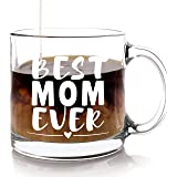 Best Mom Ever Mug - Christmas Mother's Day Gift for Moms from Son Daughter or Kids - Thank You Birthday or Present for Mother In Law Wife Coffee Lovers New Mothers Gifts - 13 Ounce, Glass Coffee Mugs