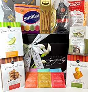 Premium Sympathy Gift Box Basket - For Bereavement Grief Thinking of You - Cookies Popcorn Nuts Coffee Tea Candies and More - Elegant Flowers Design - Send Your Condolences Care Package Today
