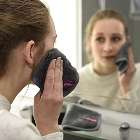 Toalla desmaquillante de microfibra y alta calidad | Reutilizable y Ultra fina | Sólo se usa con agua | tejido facial hipoalergénico | Juego de 2 ...