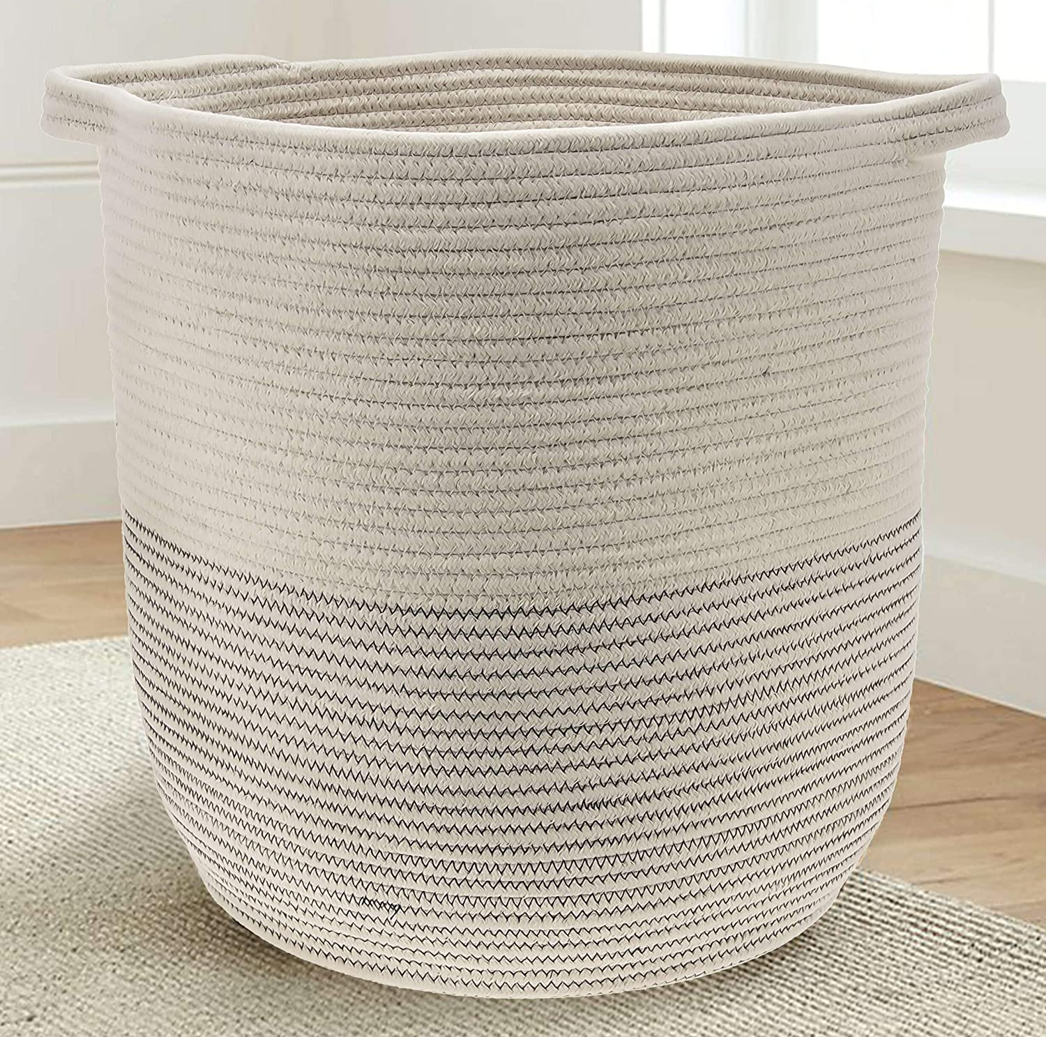 Extra Large Woven Storage Baskets | 18 x 16 Decorative Blanket Basket, Use for Sofa Throws, Pillows, Towels, Toys or Nursery | Cotton Rope Organizer | Coiled Round White Laundry Hamper with Handles GooBloo