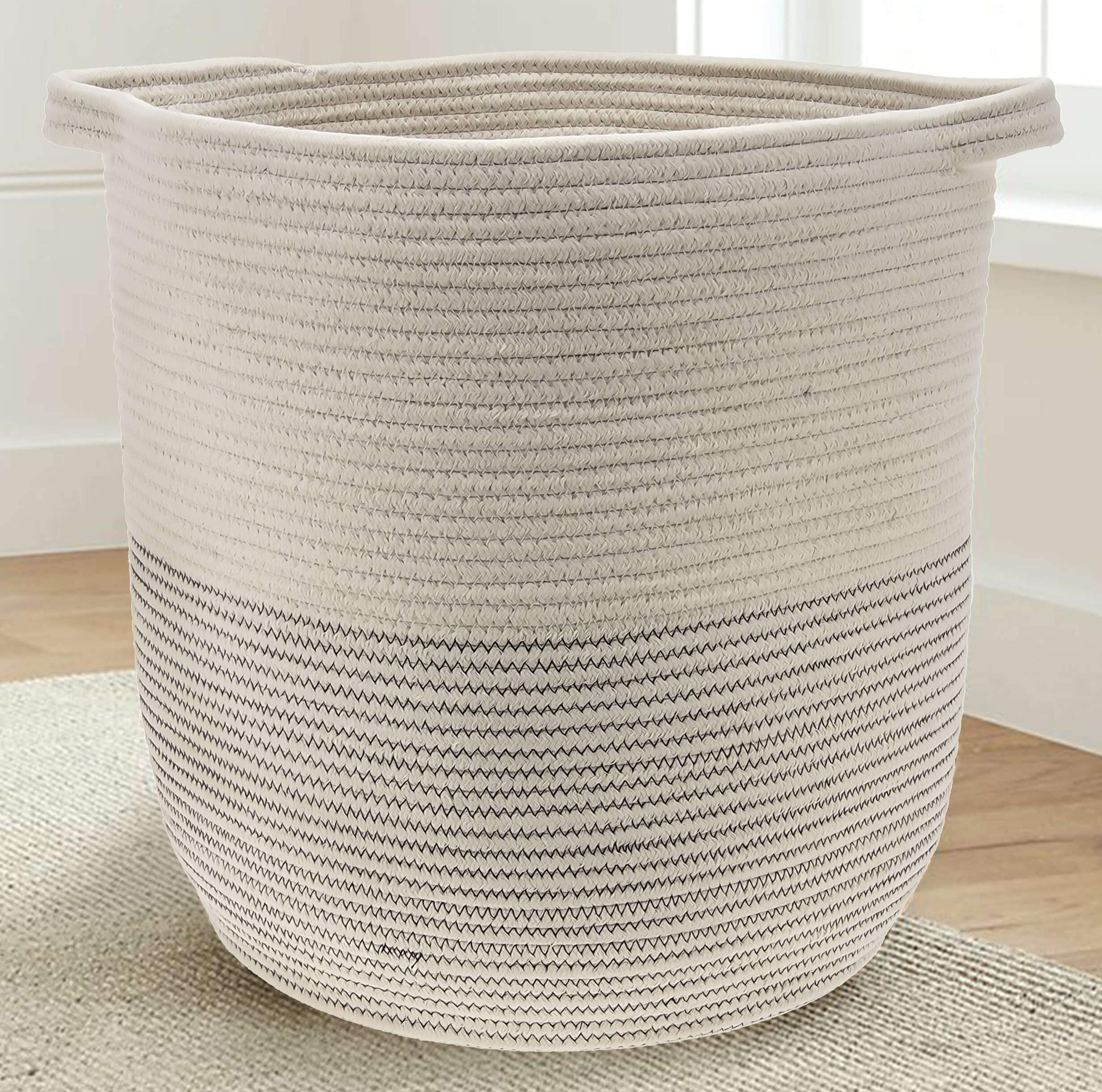 22x14 Perfect for Toys or Blankets Extra Large Cotton Rope Basket Premium Quality Blanket Storage /& Decorative Floor Basket Towels Home Decor Storage Baby Bin /& Laundry Hamper