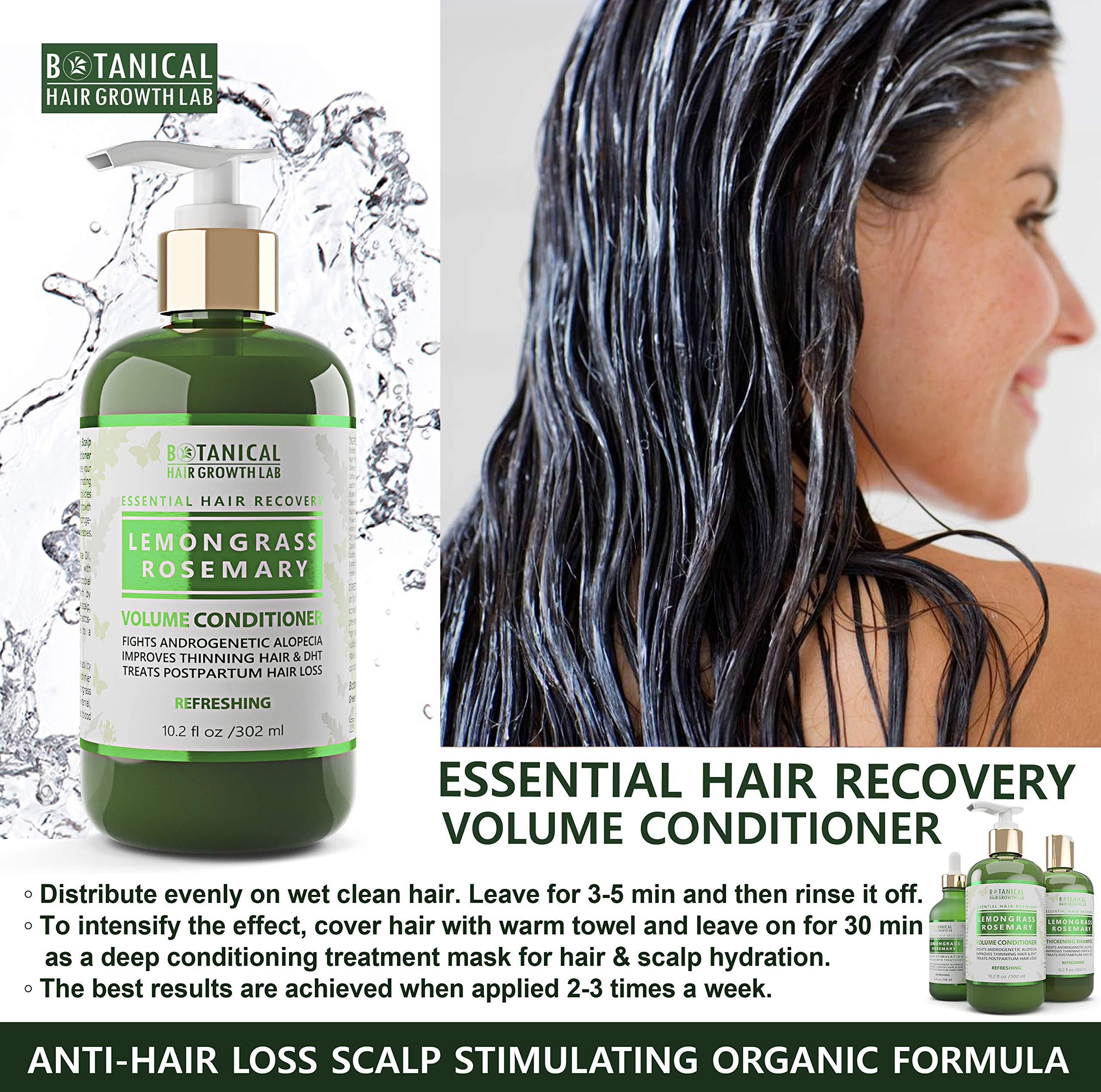 Botanical Hair Growth Lab Anti Hair Loss Shampoo and Conditioner Lemongrass & Rosemary for Hair Thinning Prevention - Natural & Organic - Alopecia Postpartum DHT Blocker by BOTANICAL HAIR GROWTH LAB