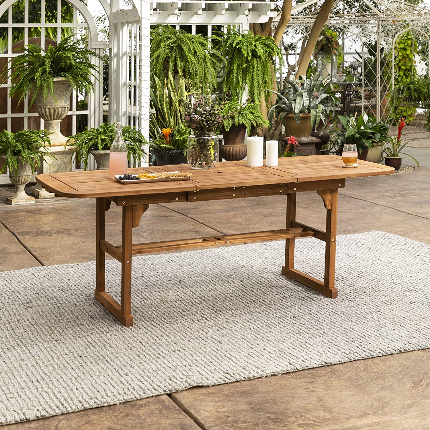 Walker Edison Furniture Company Solid Acacia Wood Patio Extendable Dining Table – Brown