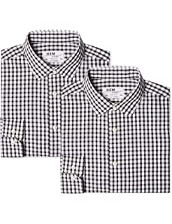 EX M/&S Marks And Spencer 2 Pack Easy Care Long Sleeve Assorted Shirts With Tie