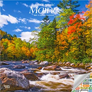 Maine Wild and Scenic Calendar 2021 Bundle - Deluxe 2021 Maine Wall Calendar with Over 100 Calendar Stickers (Nature Gifts, Office Supplies)