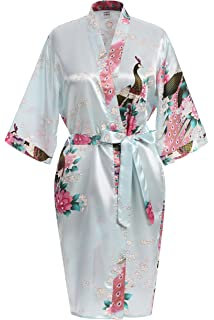 4c1bd206aa USDisc t Elegant Short Sleeve Printing Peacock Silk Women s Kimono Robe for  Parties Wedding Bridal