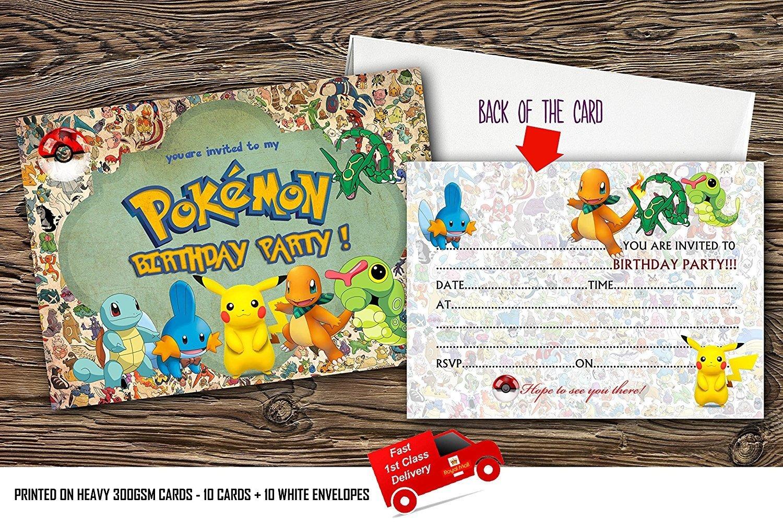 design buddies X10 Poké mon kids birthday Party Invitations With 10 FREE Envelopes (10)