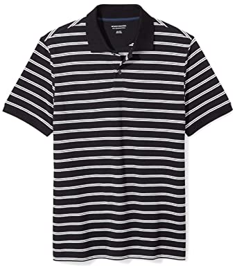 42822822418500 Amazon Essentials Men's Slim-fit Cotton Pique Polo Shirt, Black Stripe,  Small