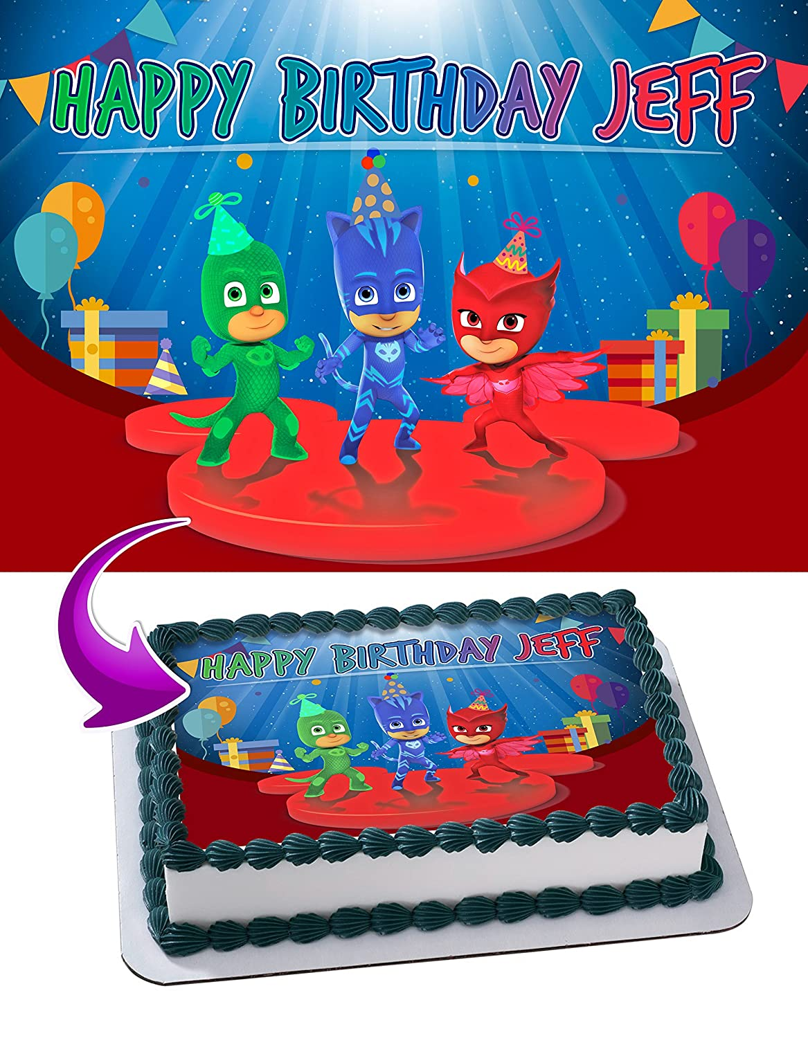PJMasks Pj Masks Edible Cake Image Topper Personalized Icing Sugar Paper A4 Sheet Edible Frosting Photo Cake 1/4 ~ Best Quality Edible Image for cake: ...