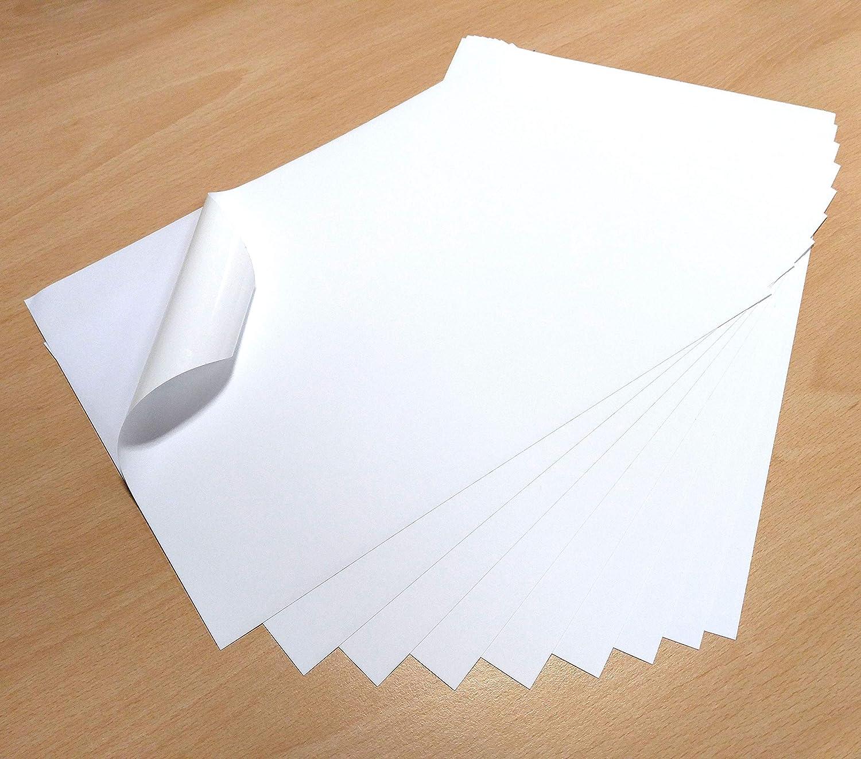 10 fogli bianchi in vinile formato A4, impermeabili, opachi ed auto adesivi, per stampa laser e a getto d'inchiostro EVG