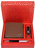 Urban Forest Sherlock Redwood RFID Blocking Leather Wallet, Keyring & Pen Combo Gift Set for Men - Packed in Traditional Festive Box for Diwali Gifting