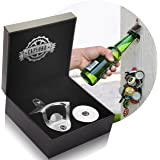 CAPLORD Gift Set for Men: Stainless Steel Wall Mounted Bottle Opener with Magnetic Cap Catcher, mounting Screws and Screwdriver Key Ring, in Wooden Box, Never Rust