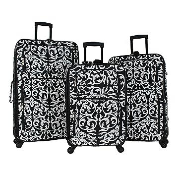dc9152d28 Amazon.com   World Traveler 3-Piece Rolling Expandable Spinner Luggage Set  - Black Trim Damask   Luggage Sets