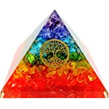 7 Chakra Crystal Tree of Life Orgone Pyramid Kit / Includes 4 Crystal Quartz Energy Points / EMF Protection Meditation Yoga Energy Generator …