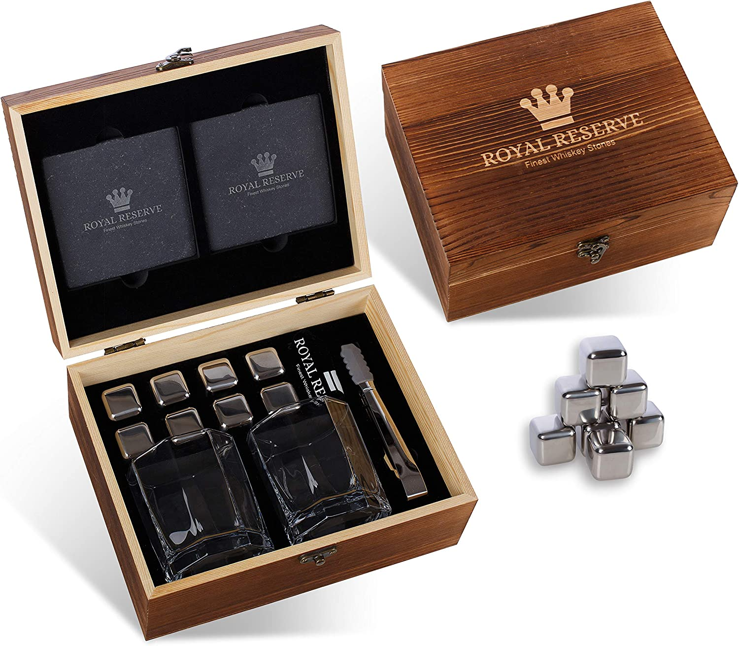 Whiskey Stones Gift Set by Royal Reserve Mens Birthday Gifts Artisan Crafted Metal Stainless Chilling Rocks Scotch Bourbon Glasses Gift for Men Husband Dad Boyfriend Anniversary or Retirement