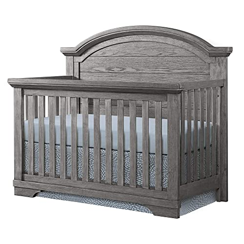 Westwood Design Arch Paneled 4 in 1 Convertible Crib, Foundry, Brushed Pewter