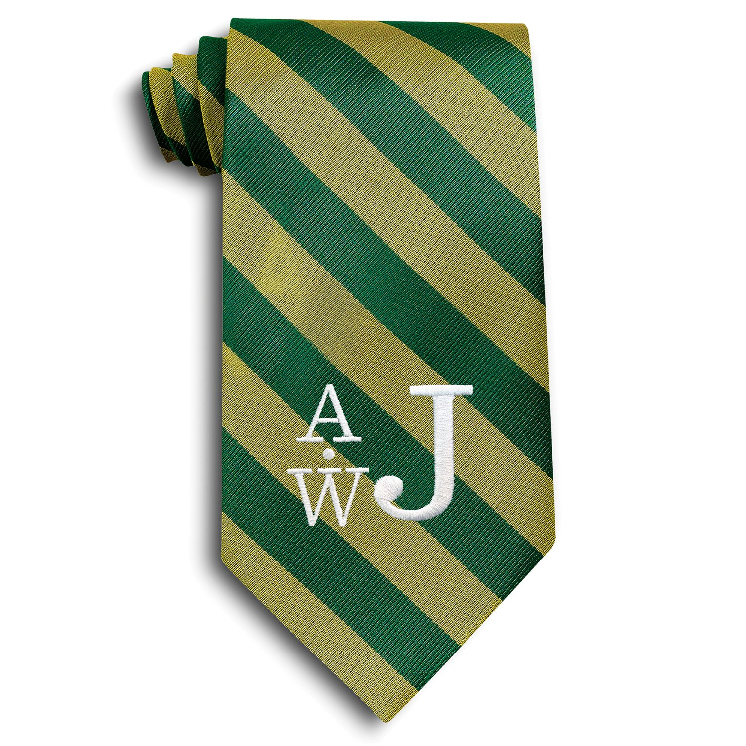 Personalized Green and Gold School Stripe Tie with Embroidered Monogram