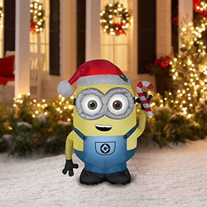 gemmy airblown inflatable bob the minion wearing a santa hat with candy cane holiday yard
