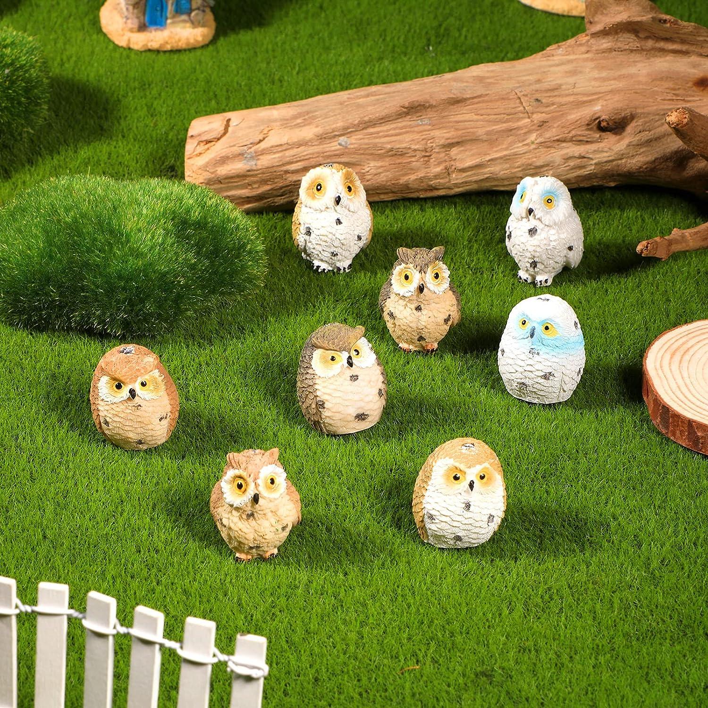 Jetec 8 Pieces Resin Mini Owl, Fairy Garden Statue Miniature Ornaments, Animal Resin Figurine 1.3 inch in Height for Desk Garden Patio Plant Pot Landscape Bonsai Craft Decoration