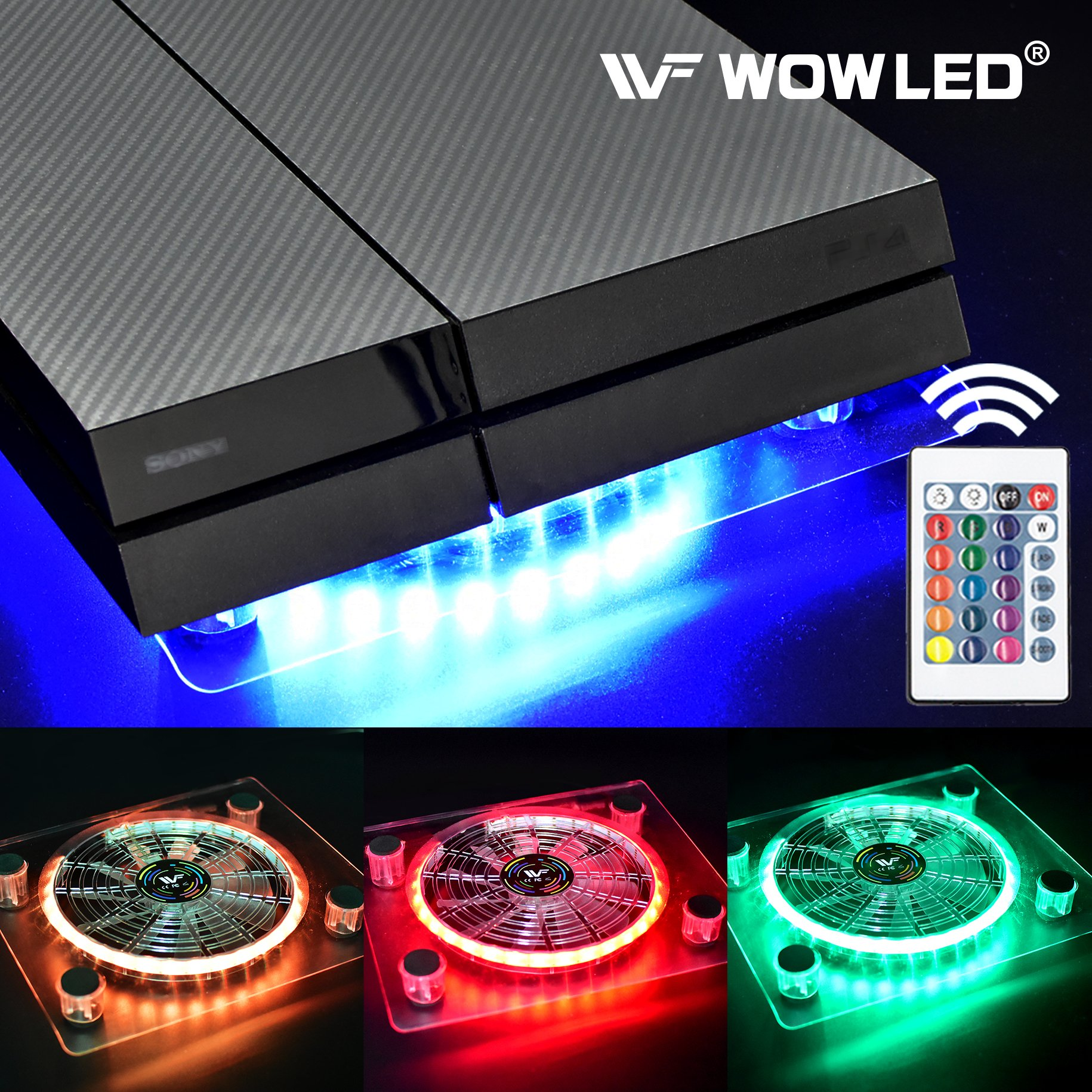 WOWLED Wireless IR Remote Control 24 keys RGB USB LED Thermal Case Fan Cooler Cooling Fan Pad Stand for PC Case CPU Cooler Computer Gaming PS4 Playstation 4 Consoles Laptop Notebook XBOX One Radiators by WOWLED