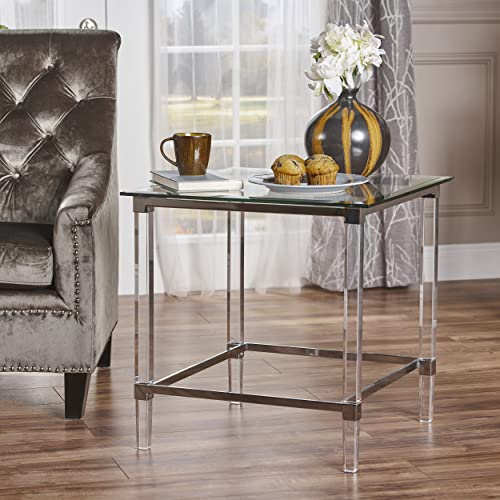 Christopher Knight Home Orson Acrylic and Tempered Glass Square Side Table, Clear