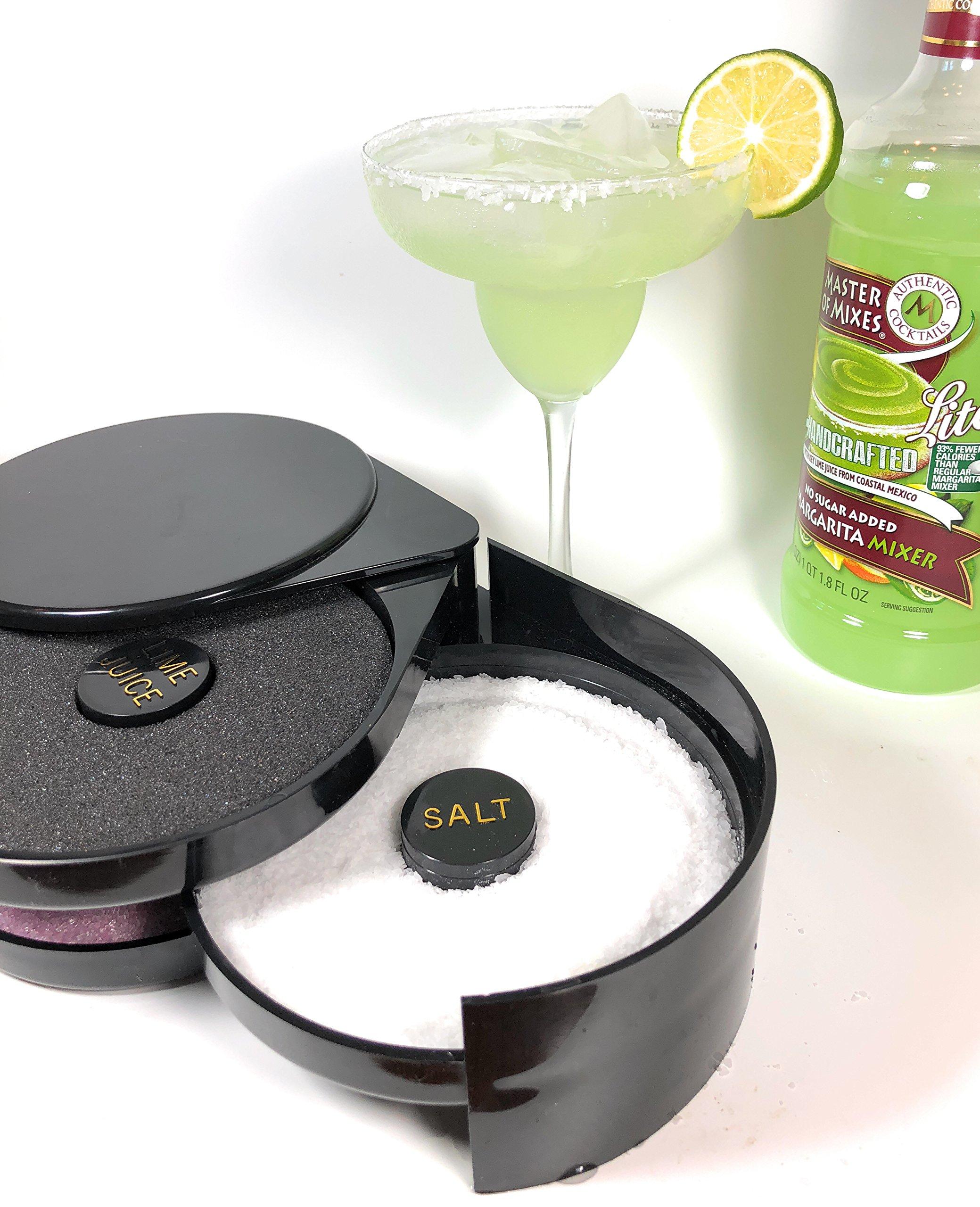 Margarita Salt Glass Rimmer BUNDLE - Bar Quality Rimmer, 8oz Margarita Salt Container, 3 Replacement Sponges | Perfect for Margaritas & Cocktails | 3-Tier Rotating Trays Salt Sugar Lime Juice SUMMIT by SUMMIT Salt Rimmer Bundle (Image #6)