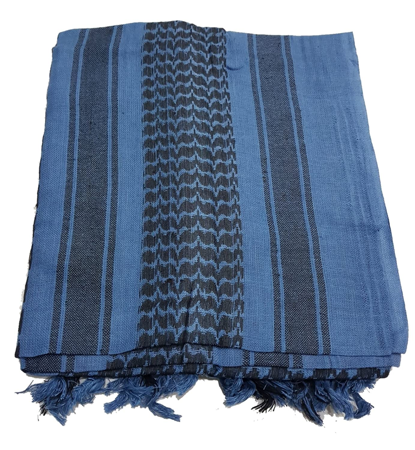 100% Cotton Black and Blue Shemagh Arab Keffiyeh Headscarf Unisex Desert Shawl Hijab Scarf BLUEBLACKSHEMAGH