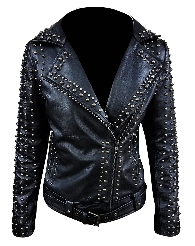 Tashco Fashion Leather Jacket Women Studded Vintage Motorbike Genuine Black Jacket