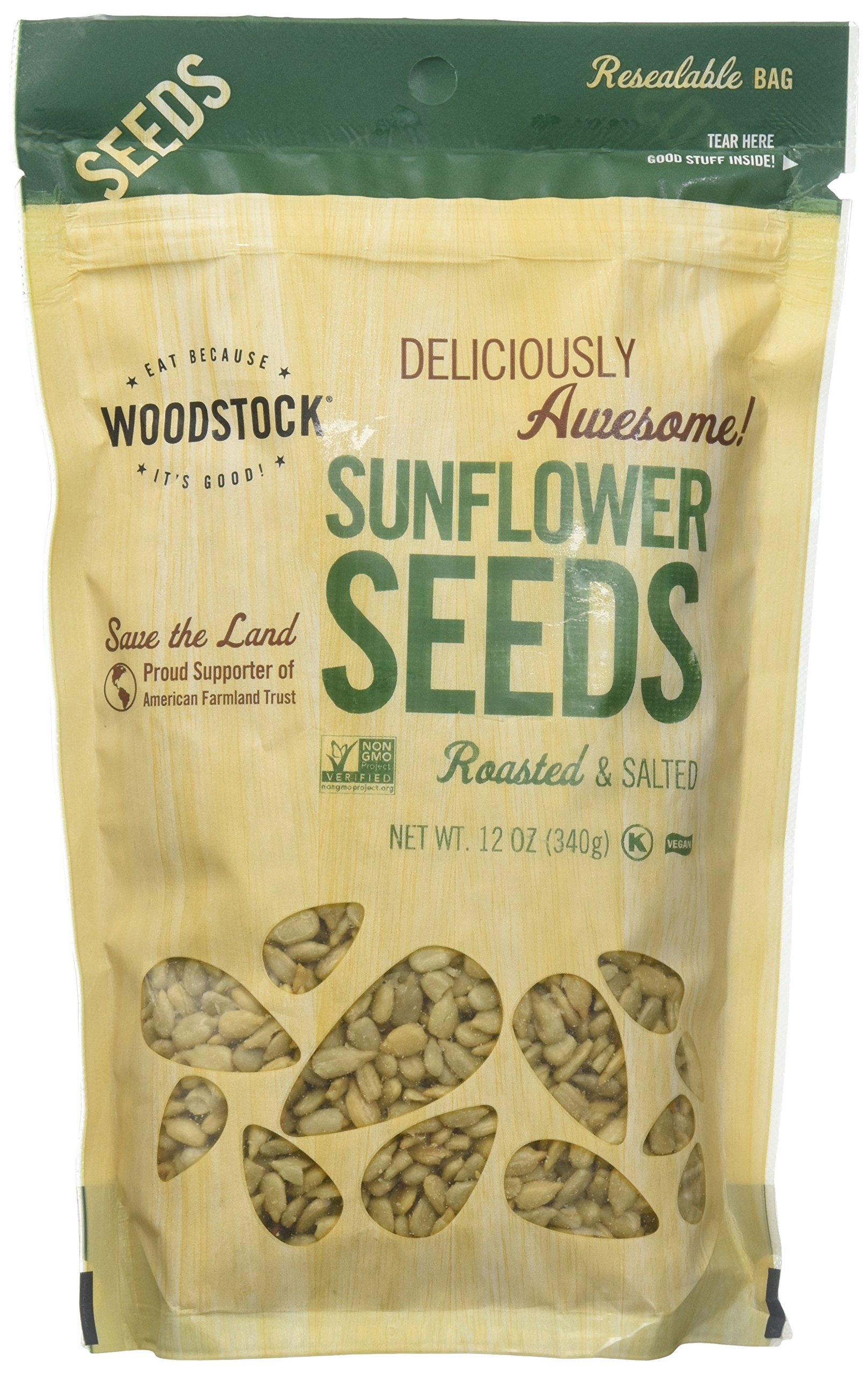 Woodstock Farms Sunflower Seeds, Roasted & Salted, 12 oz