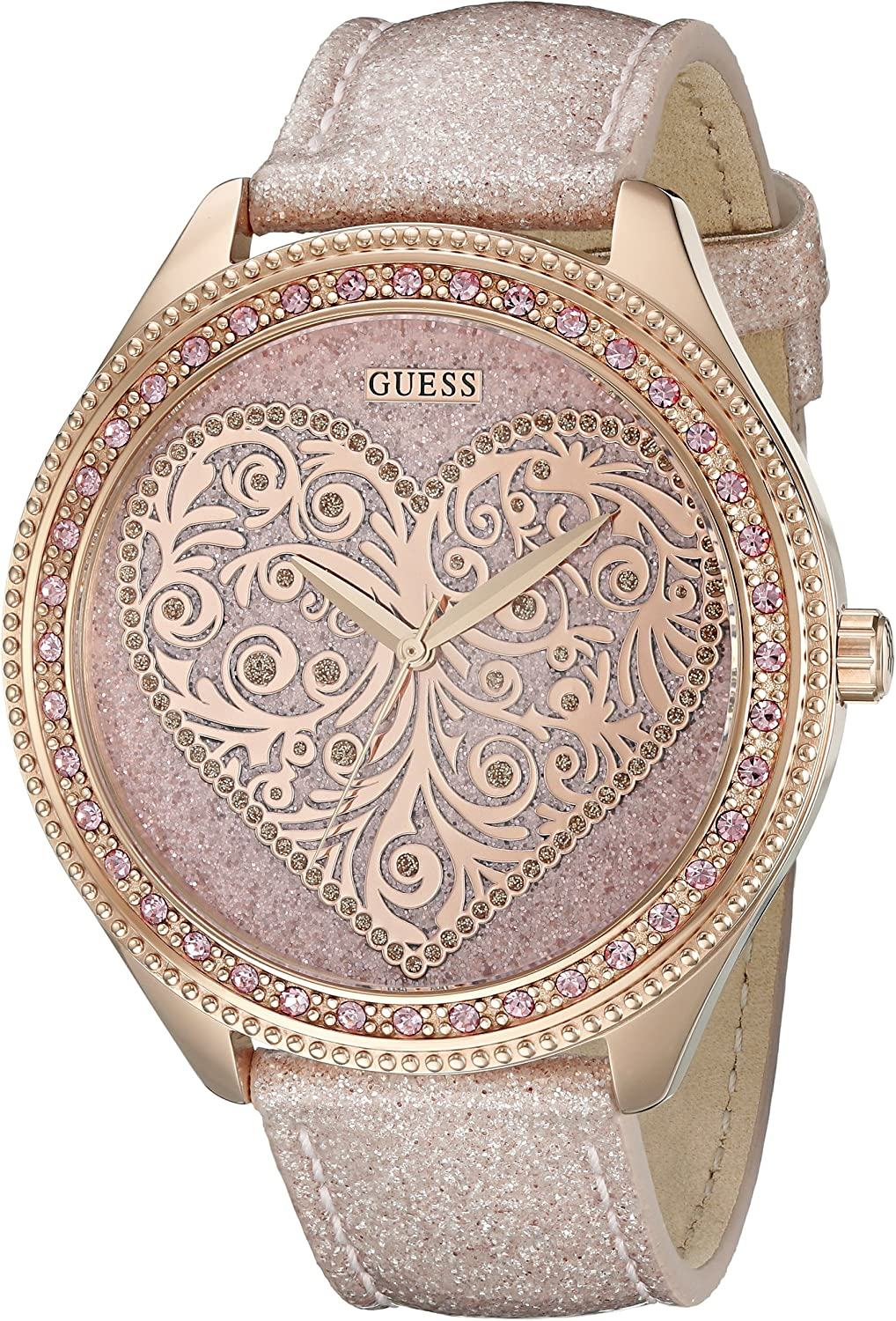 GUESS Women s U0697L3 Trendy Rose Gold-Tone Watch with Heart Dial