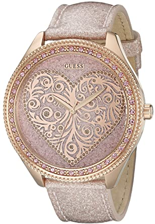 GUESS Womens U0697L3 Trendy Rose Gold-Tone Watch with Heart Dial
