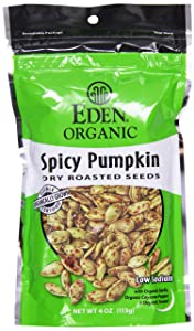 Eden, Organic Dry Roasted Seeds, Spicy Pumpkin, Resealable Bags, 4 oz