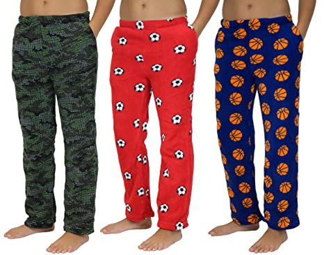 45e185b1f2 3 Pack: Boy's Super-Soft Plush Fleece Pajama Pants/Lounge Bottoms