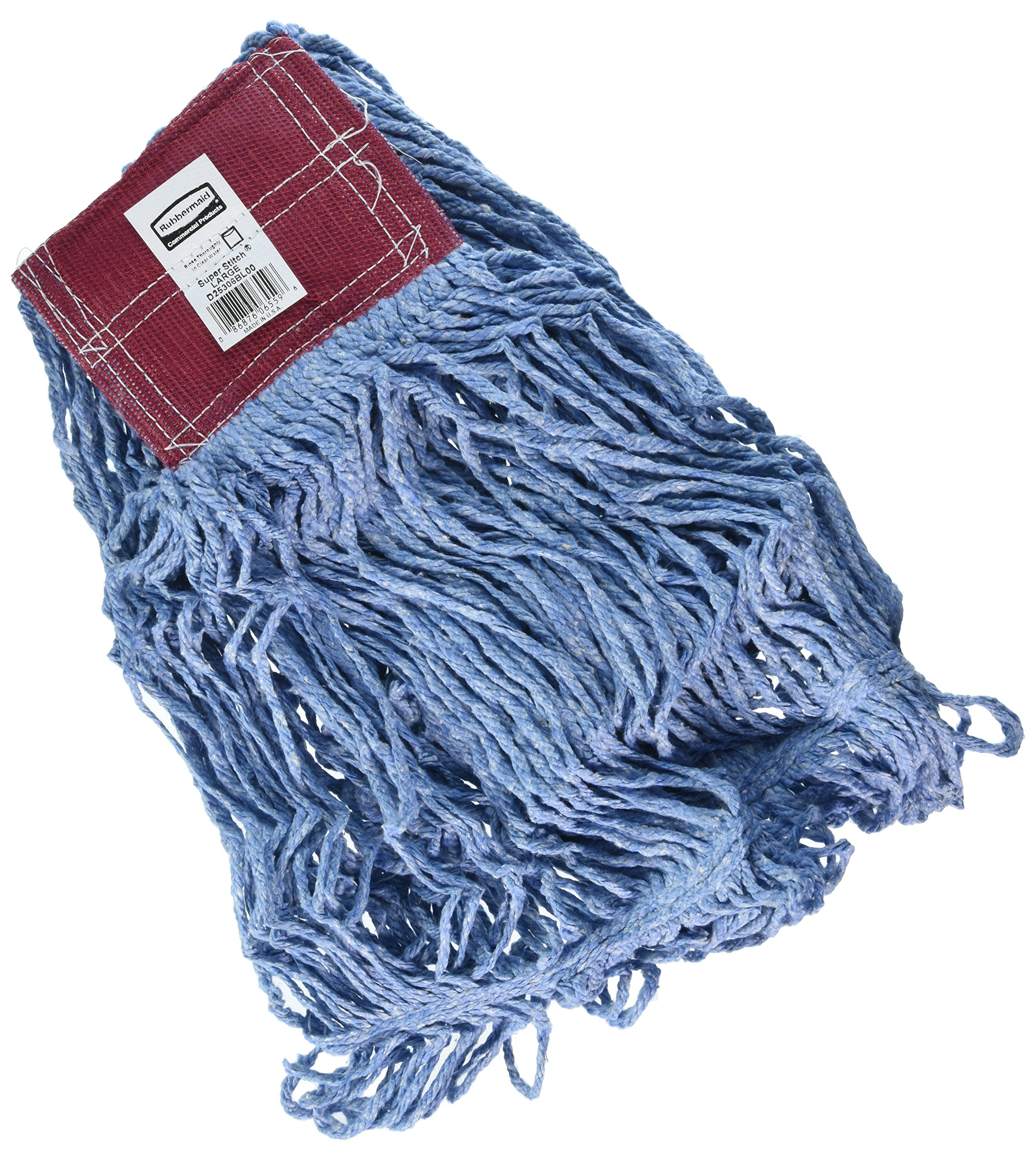 Rubbermaid Commercial Products FGD25306BL00 Super Stich Blend Mop, Large, 5'' Blue Headband (Pack of 6) by Rubbermaid Commercial Products