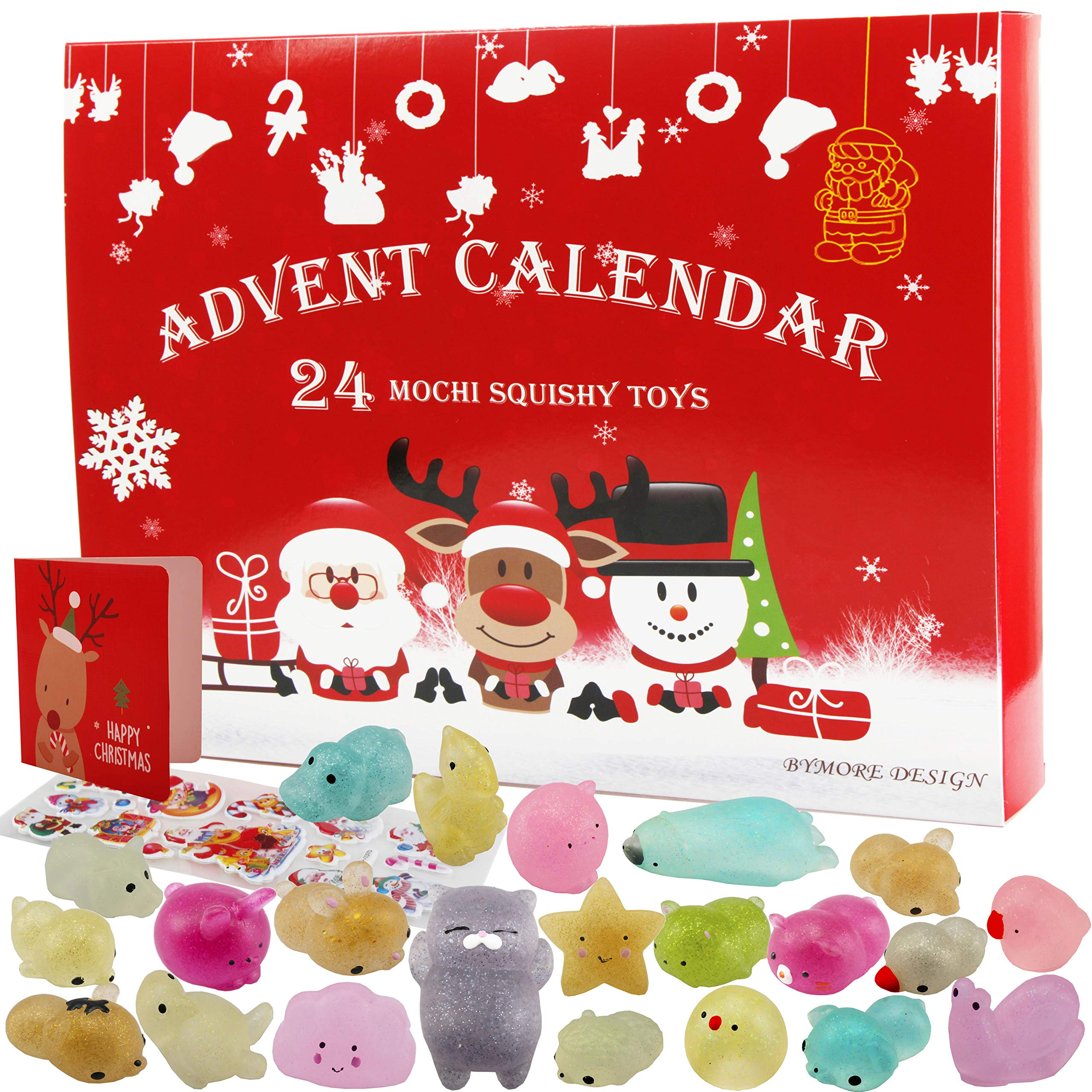 BYMORE 24 Pack Glitter Mochi Squishies Animals Advent Calender Mini Toys Stress Relief Squishies for Kids Adults 2019 Christmas Countdown Gifts by BYMORE