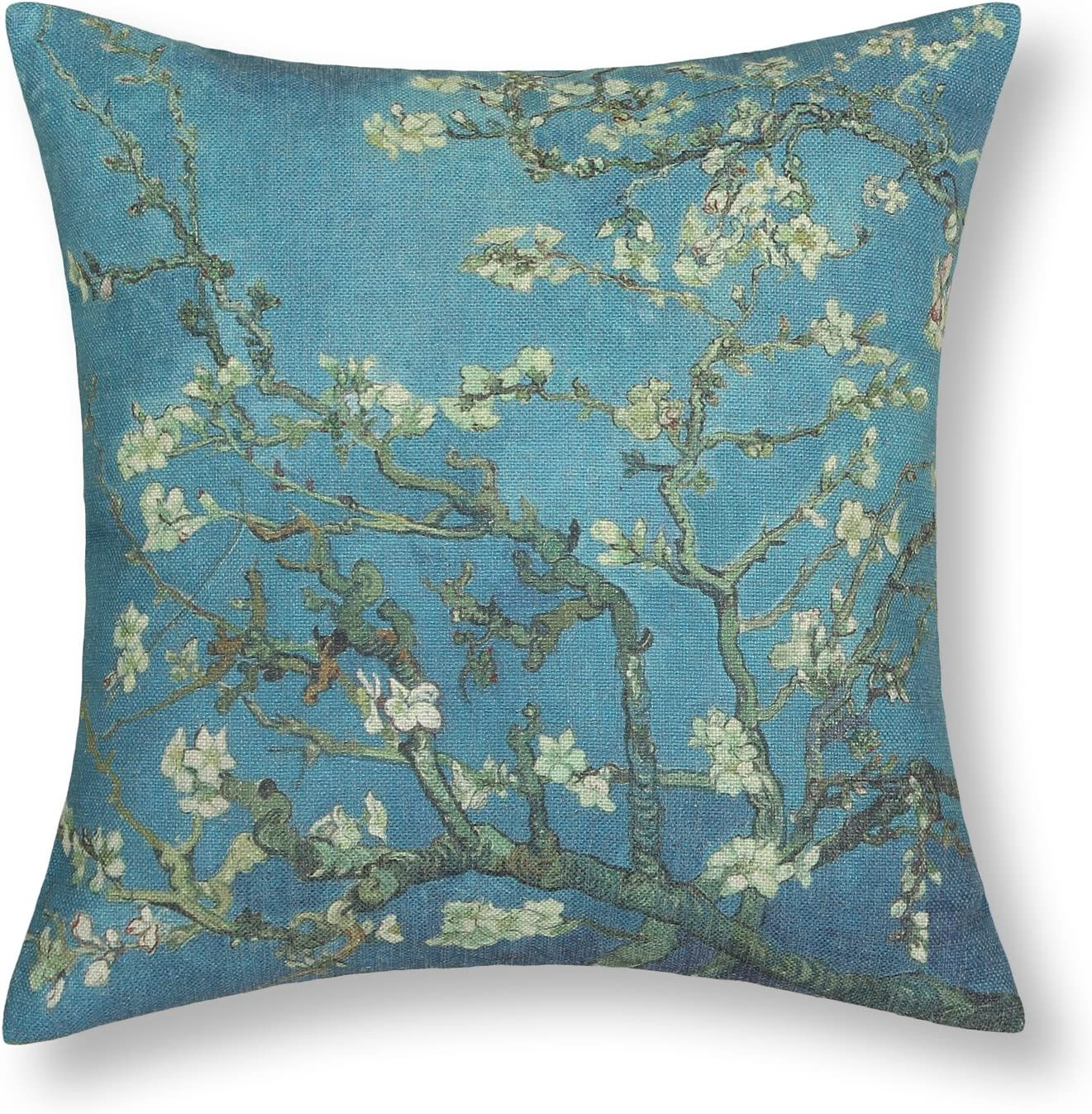 CaliTime Canvas Throw Pillow Cover Case for Couch Sofa Home Decoration Famous Picture Print 18 X 18 Inches Van Gogh Painting Almond Blossom
