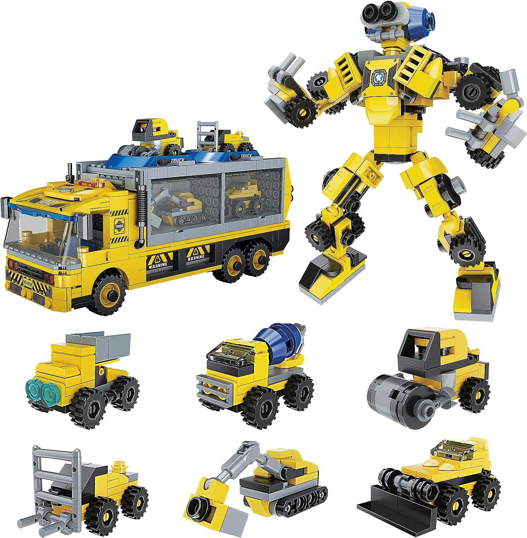 Blocks Storage Box DIY Playset PicassoTiles 649pc Transformer Building Brick Construction Truck Vehicle Model 6-in-1 Robot STEM Learning Engineering Educational Block Toy Kit Kids Boys /& Girls Ages 6