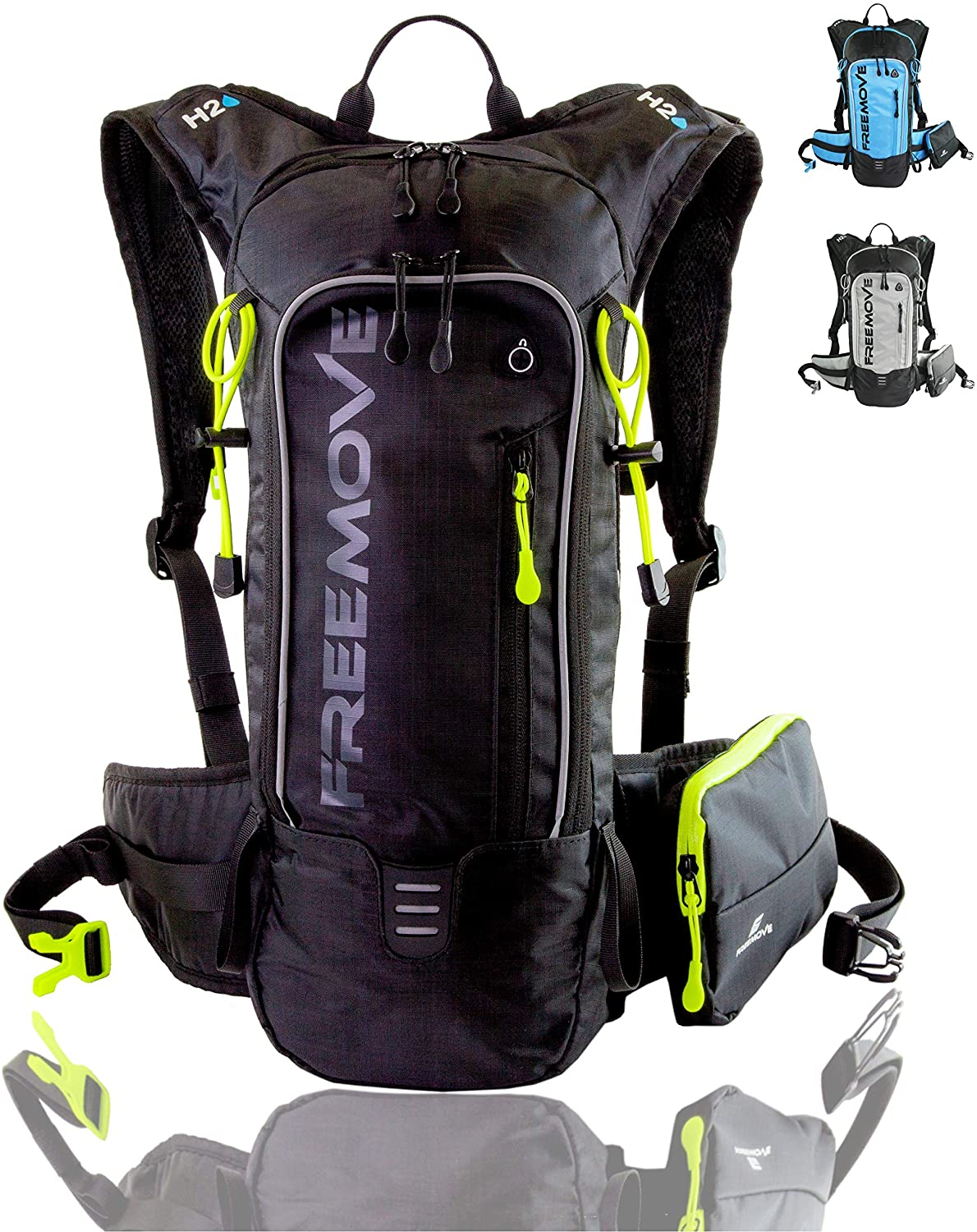 FREEMOVE Hiking Daypack Camelback Backpack with Detachable Phone Pocket, 10L Capacity, Many Compartments, Durable - Ideal as Hydration Backpack for Hiking, Running, MTB Cycling - Bladder NOT Included