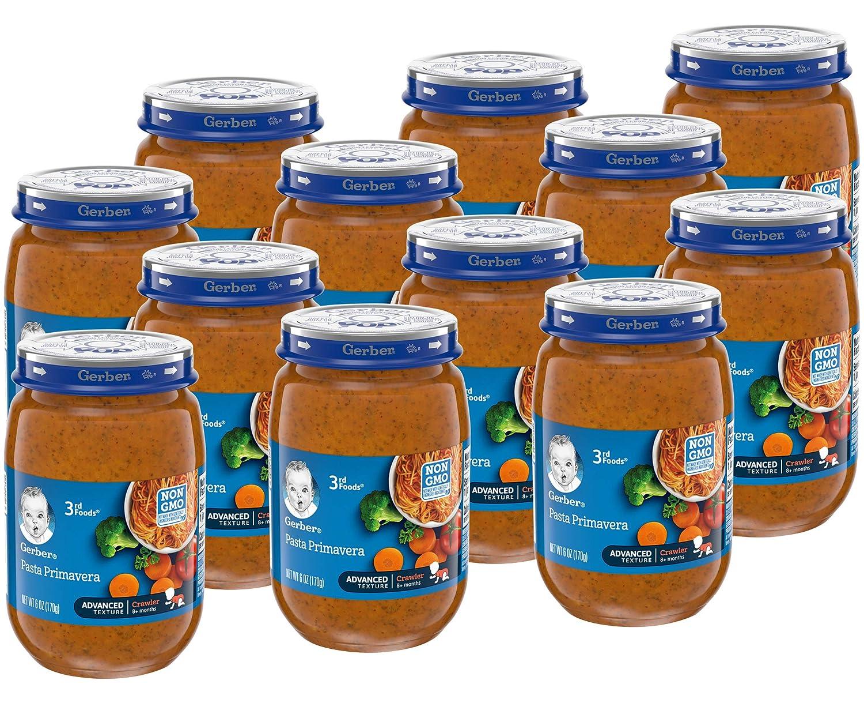 Gerber 3rd Foods Baby Food Jars, Pasta Primavera, 6 Ounce (Pack of 12)