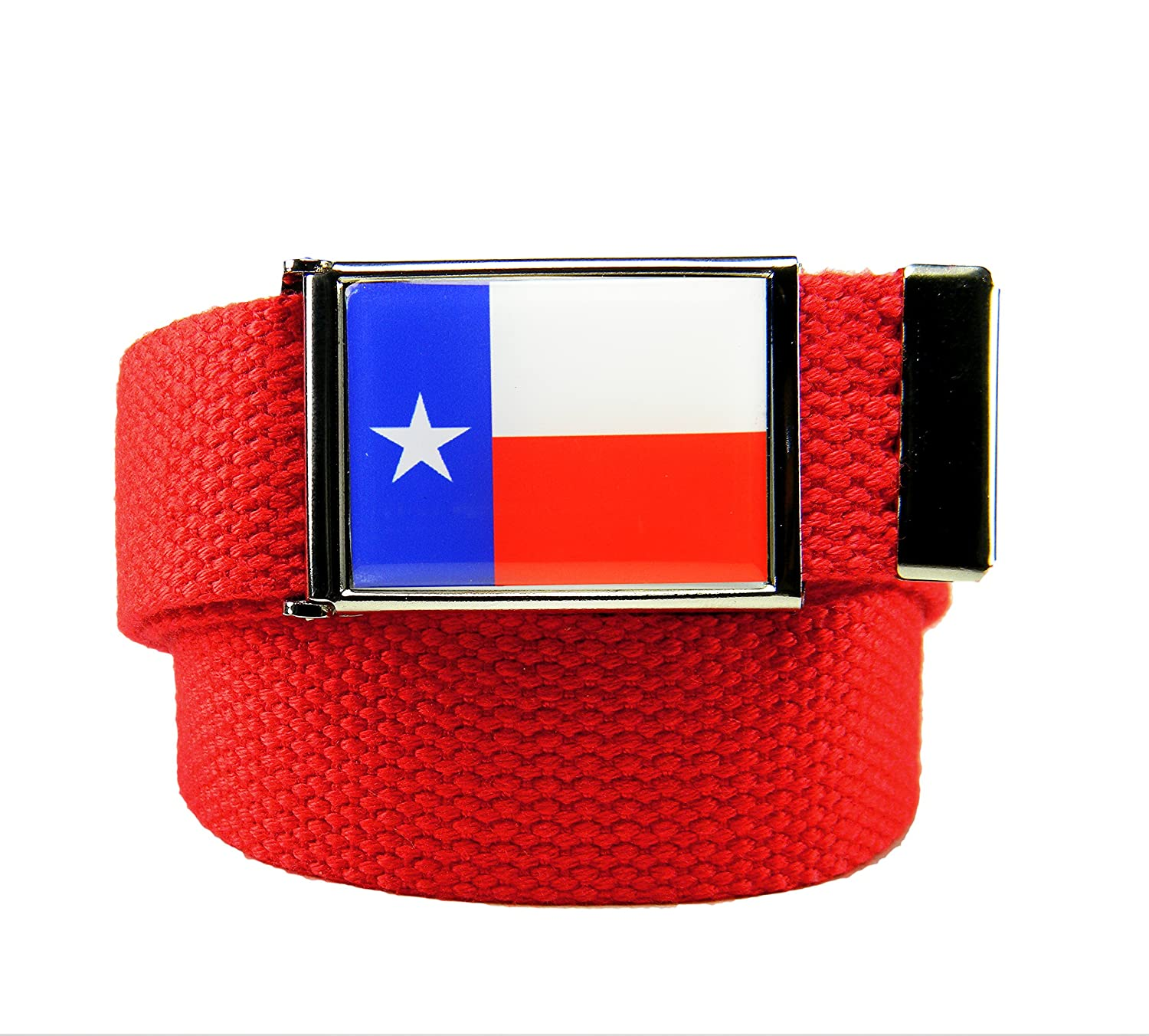 Build A Belt/® Texas Flag Flip Top Mens Belt Buckle with Canvas Web Belt
