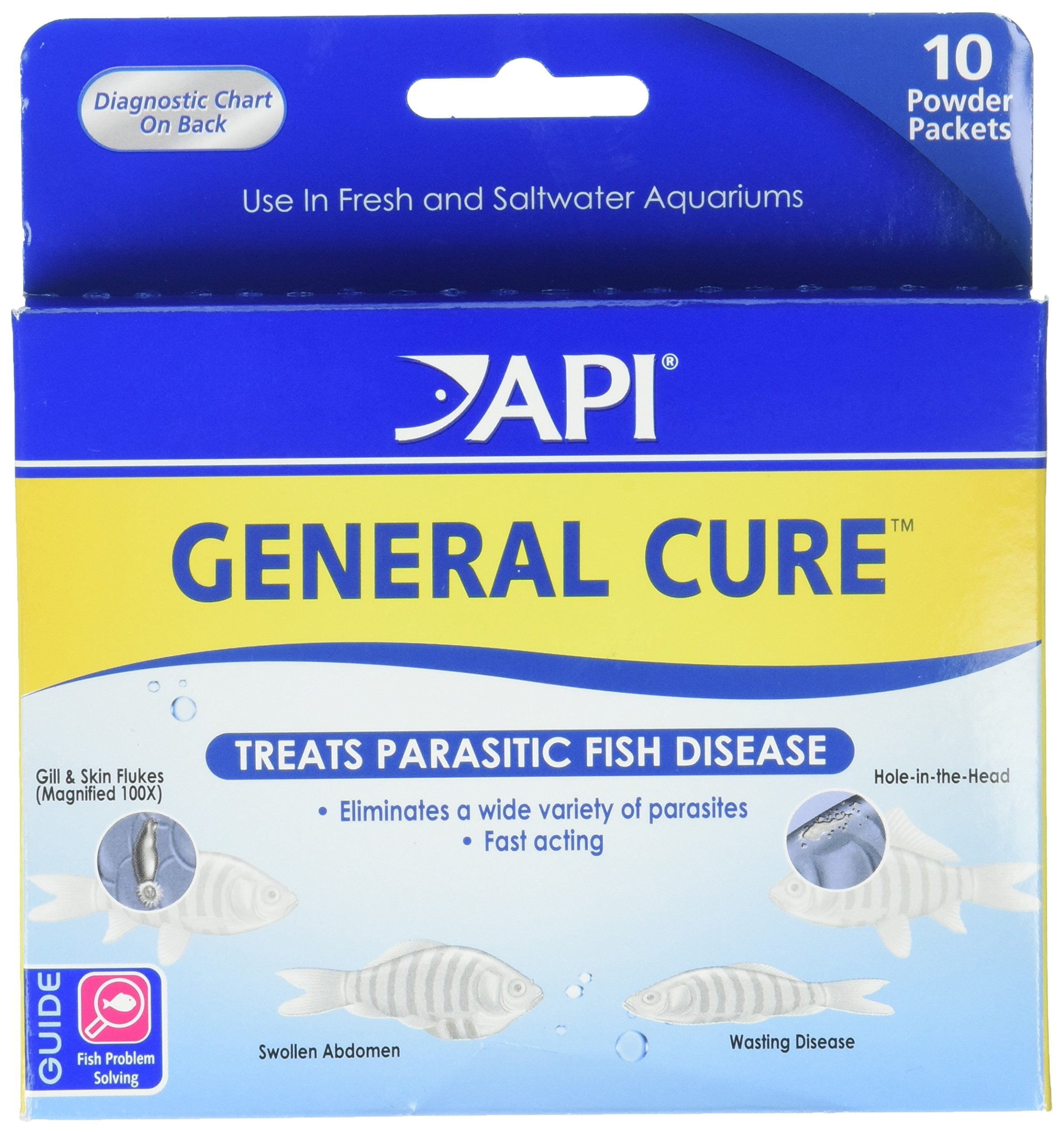 API GENERAL CURE Freshwater and Saltwater Fish Powder Medication 10-Count Box by API